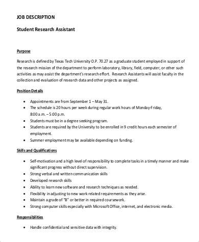 sle research assistant job description 10 exles