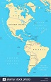 The Americas, North and South America, political map with ...