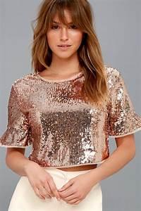 Stunning Sequin Top - Rose Gold Top