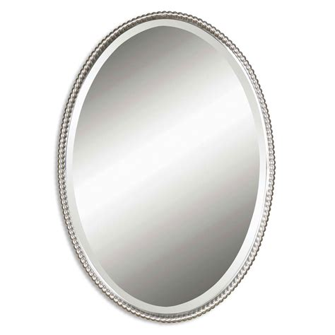 bathroom wall mirror cabinet sherise brushed nickel oval mirror uttermost wall mirror
