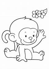 Coloring Monkeys Pages Funny Children sketch template