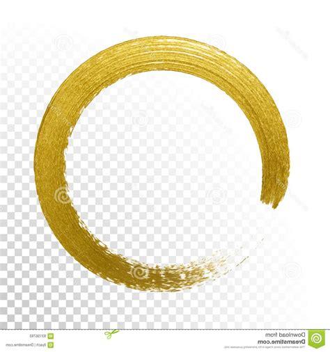 Stock Illustration Gold Circle Glitter Texture Paint Brush