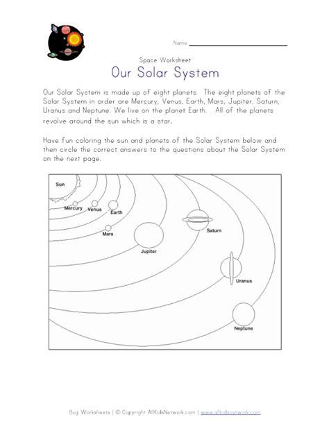 solar system worksheet worksheets for grade 1 and 2
