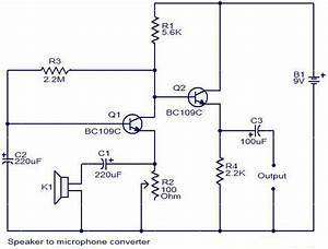 Speaker To Microphone Converter Circuit Diagram