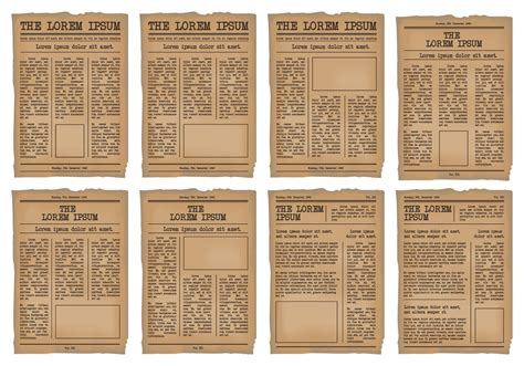 old newspaper template newspaper template vector set free vector stock graphics images