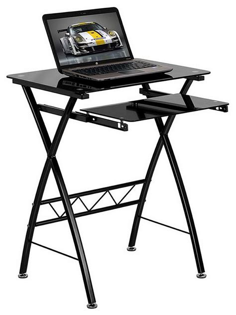 Small Tempered Glass Computer Desk by Glass Computer Desks For Small Spaces Black Tempered Glass