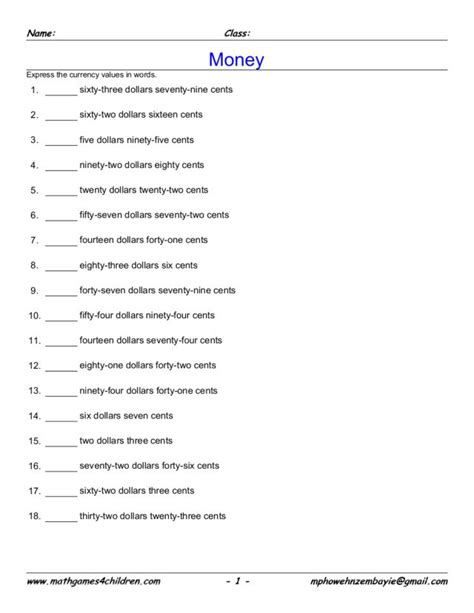 write the money amounts worksheet for 2nd 5th grade