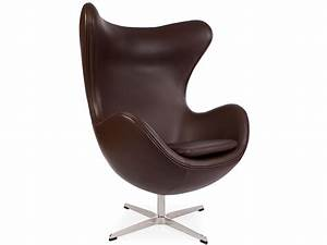 Fauteuil egg arne jacobsen marron for Fauteuil jacobsen