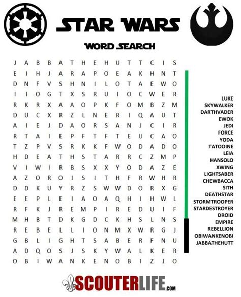 Star Wars Word Search — ScouterLife   Star wars classroom ...