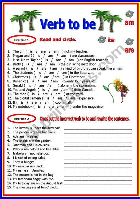 verb to be esl worksheet by shusu euphe