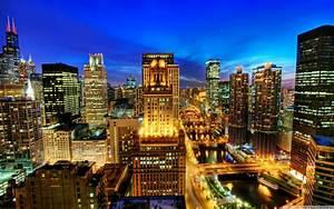 Night city, Lights, Blue sky, Chicago, Skyscraper ...