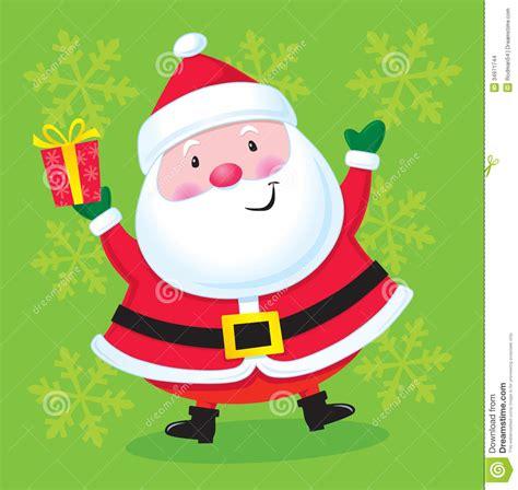 happy santa   present stock photo image  gift