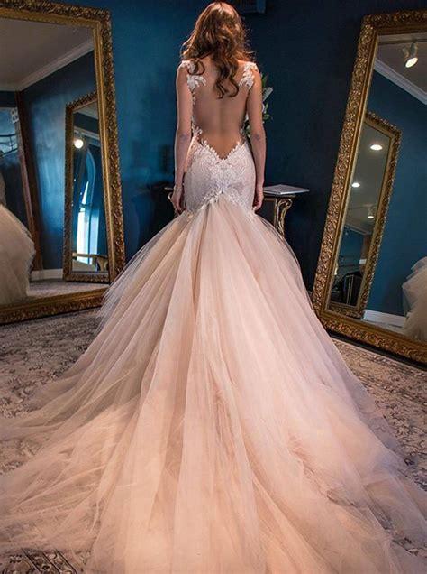 Mermaid Straps Backless Chapel Train Pink Wedding Dress