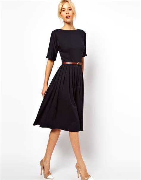asos midi dress  full skirt  belt  blue navy lyst