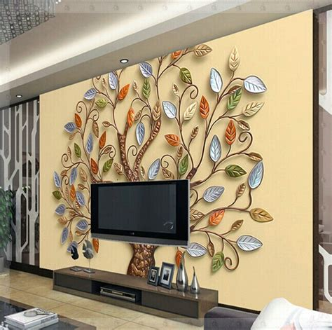 custom any size 3d wall mural wallpaper abstract chinoiserie relief color tree