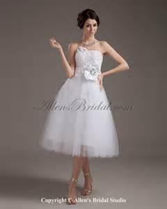 knee length wedding dresses allens bridal tulle strapless knee length gown wedding dress
