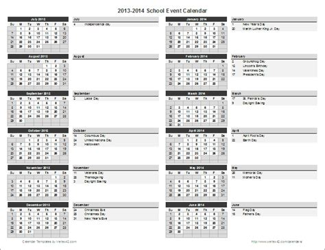 academic calendar template school calendar template 2018 2019 school year calendar