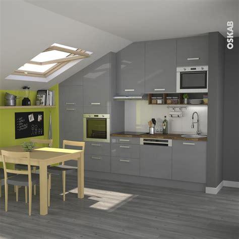 cuisine pour petit appartement cuisine grise moderne fa 231 ade stecia gris brillant coins