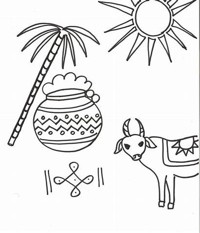 Pongal Coloring Drawing Pages Festivals Indian Clipart