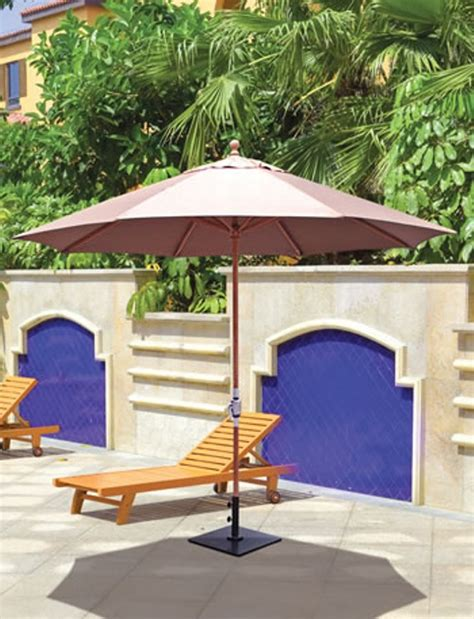 galtech 11 teak wood crank lift non tilt patio umbrella