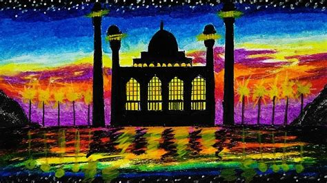 gradasi warna mewarnai gambar masjid untuk anak sd 29