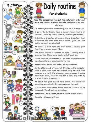 daily routines  students elementary  key