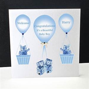Booties and Balloons A New Baby Boy Card Decorque Cards