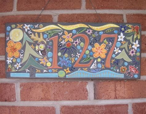 address plaque made with mosaics tile from santa theresa
