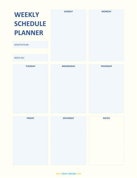 weekly schedule planner templates word excel
