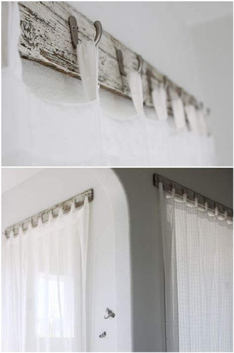 curtain rod made from recycled bench wood and
