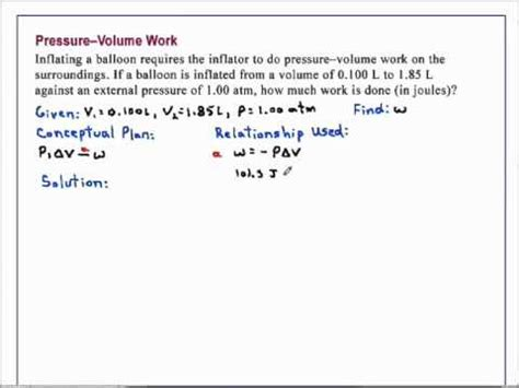 pressure volume work chemistry youtube