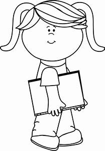 Black and White Girl Walking with a Book Clip Art - Black ...