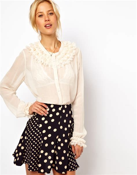 lace collar blouse asos collection blouse with layered lace collar and cuff