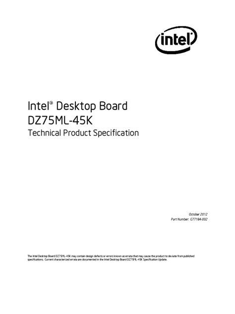 Intel DZ75ML-45K TechProdSpec02 | Hdmi | Usb