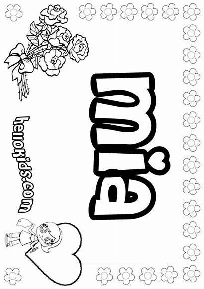 Coloring Mia Names Pages Sheets Coloringhome Printable