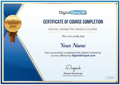 Best Digital Marketing Certificate by Get Your Digitaldeepak Course Certificate