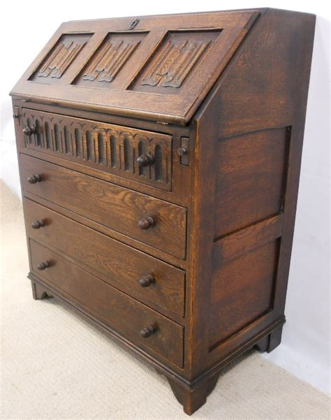 oak writing bureau furniture sold oak linenfold fronted writing bureau desk
