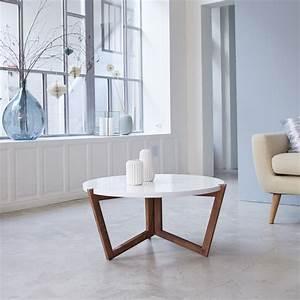Table Basse Blanche Et Grise : table basse pliable en palissandre avec plateau blanc tikamoon ~ Teatrodelosmanantiales.com Idées de Décoration