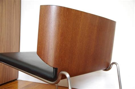 Italian Modern Armchair, Black Leather And Wenge Wood