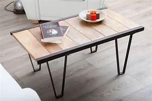 Table Industrielle Bois : table basse industrielle bois massif industria miliboo ~ Teatrodelosmanantiales.com Idées de Décoration