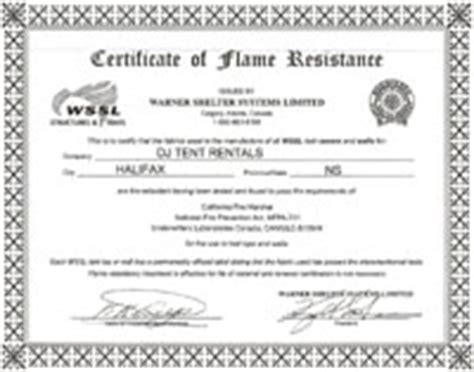 Retardant Certificate Template by D J Tents Shelters Rentals And Services