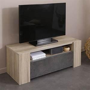Meuble Chene Clair : meuble tv couleur chne clair et effet bton contemporain kouak ~ Edinachiropracticcenter.com Idées de Décoration