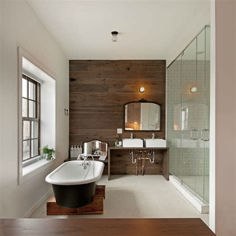 wood plank accent wall contemporary bathroom anthony tahlier photography