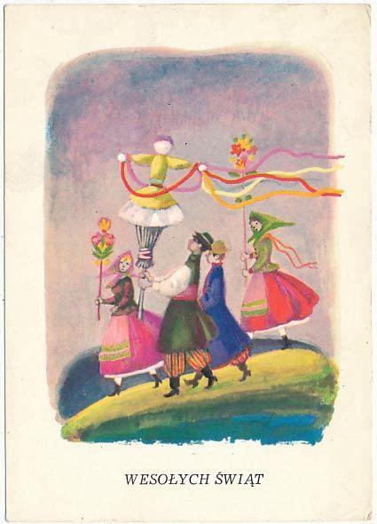 polish vintage easter cards images  pinterest