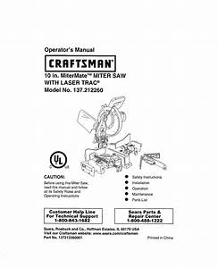 Craftsman 137212260 User Manual Miter Saw Manuals And