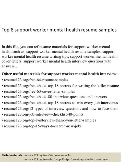 top 8 support worker mental health resume sles