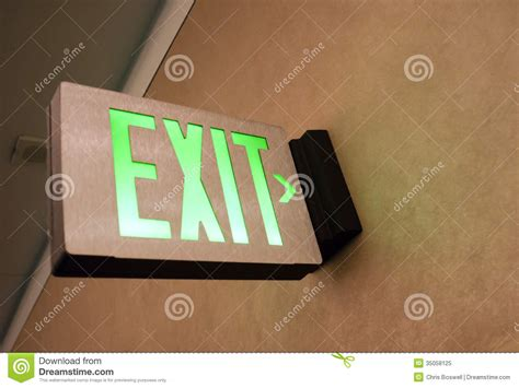 wall mounted exit sign shows way out