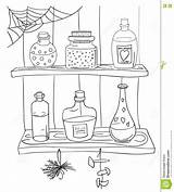 Coloring Pantry Potion Pages Magic Doodle Shelf Witch Template Dreamstime Hand sketch template
