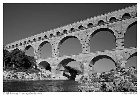 black  white picturephoto roman aqueduct  gard