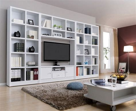 Tv Bookcases by Modern White Wood Veneer Tv Wall Unit Bookcase Shelf